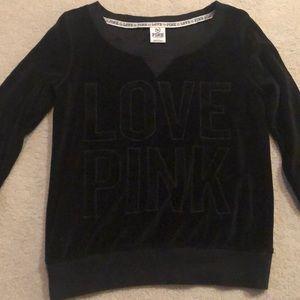 Love Pink Black Velvet Sweater